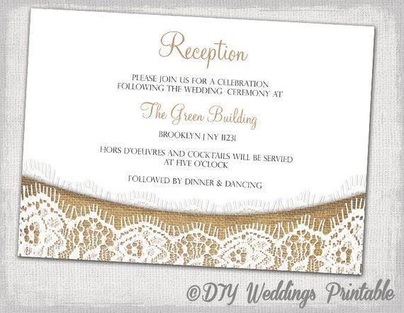 Rustic Reception Invitation Template Download Diy Printable