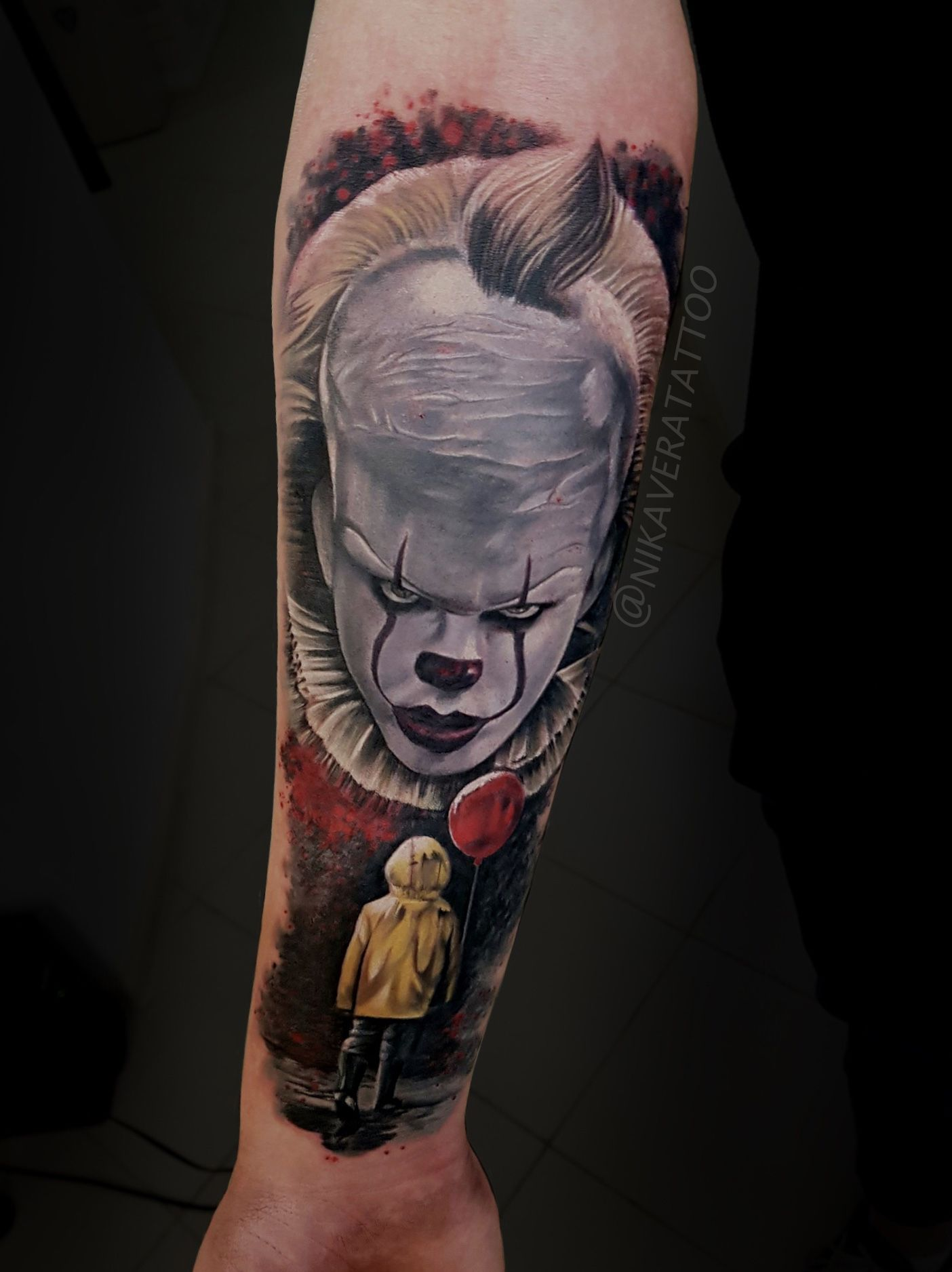 Realistic Tattoo On The Theme Of The Legendary Horror Film It