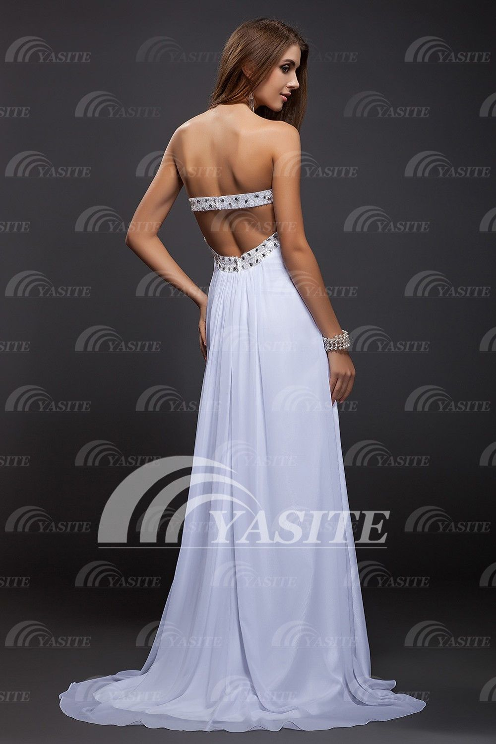 hot sale 2014 custom made straples crystals backless cheap prom dress prom gowns