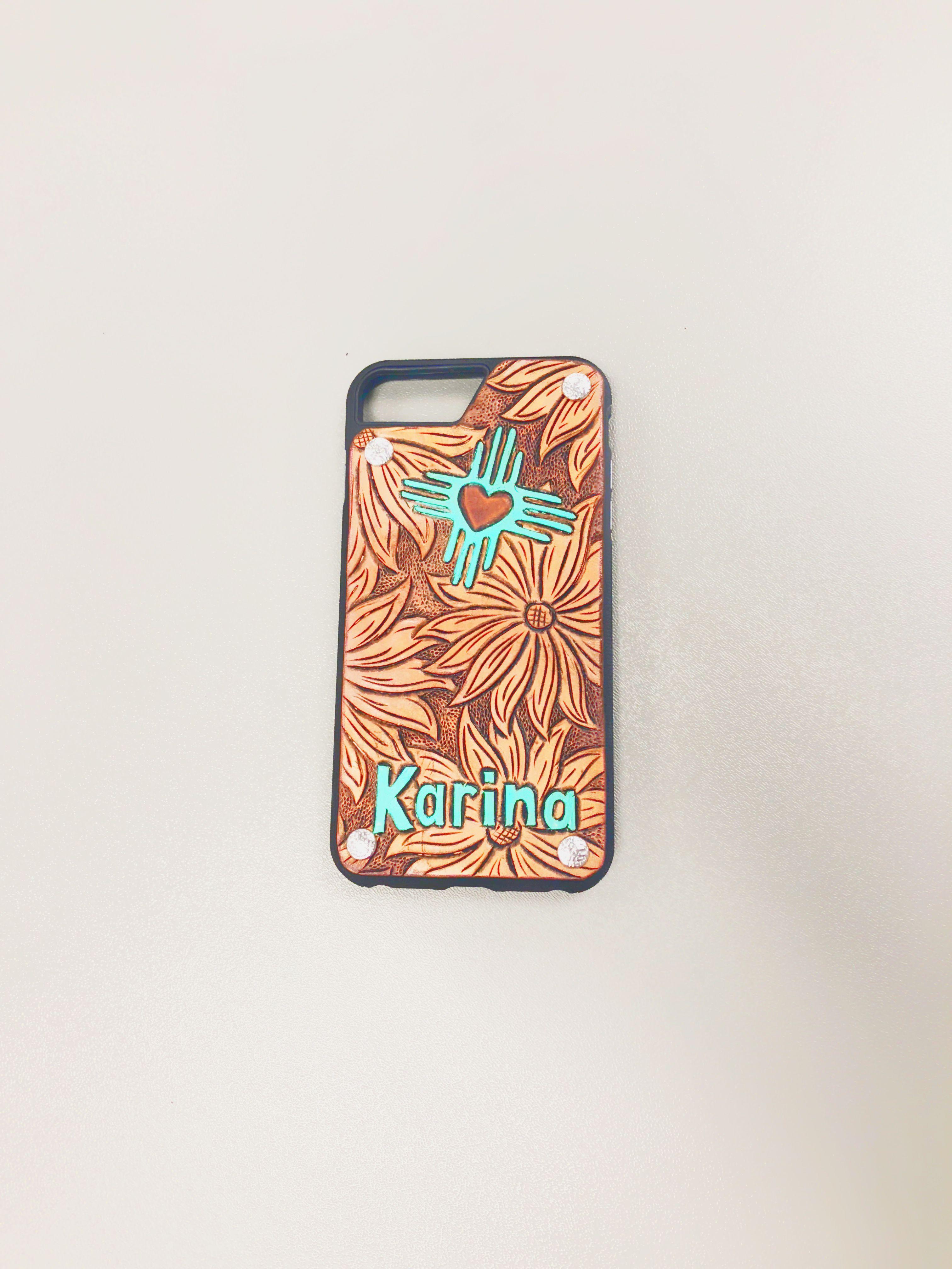 Custom tooled leather phone case made by rockin l custom
