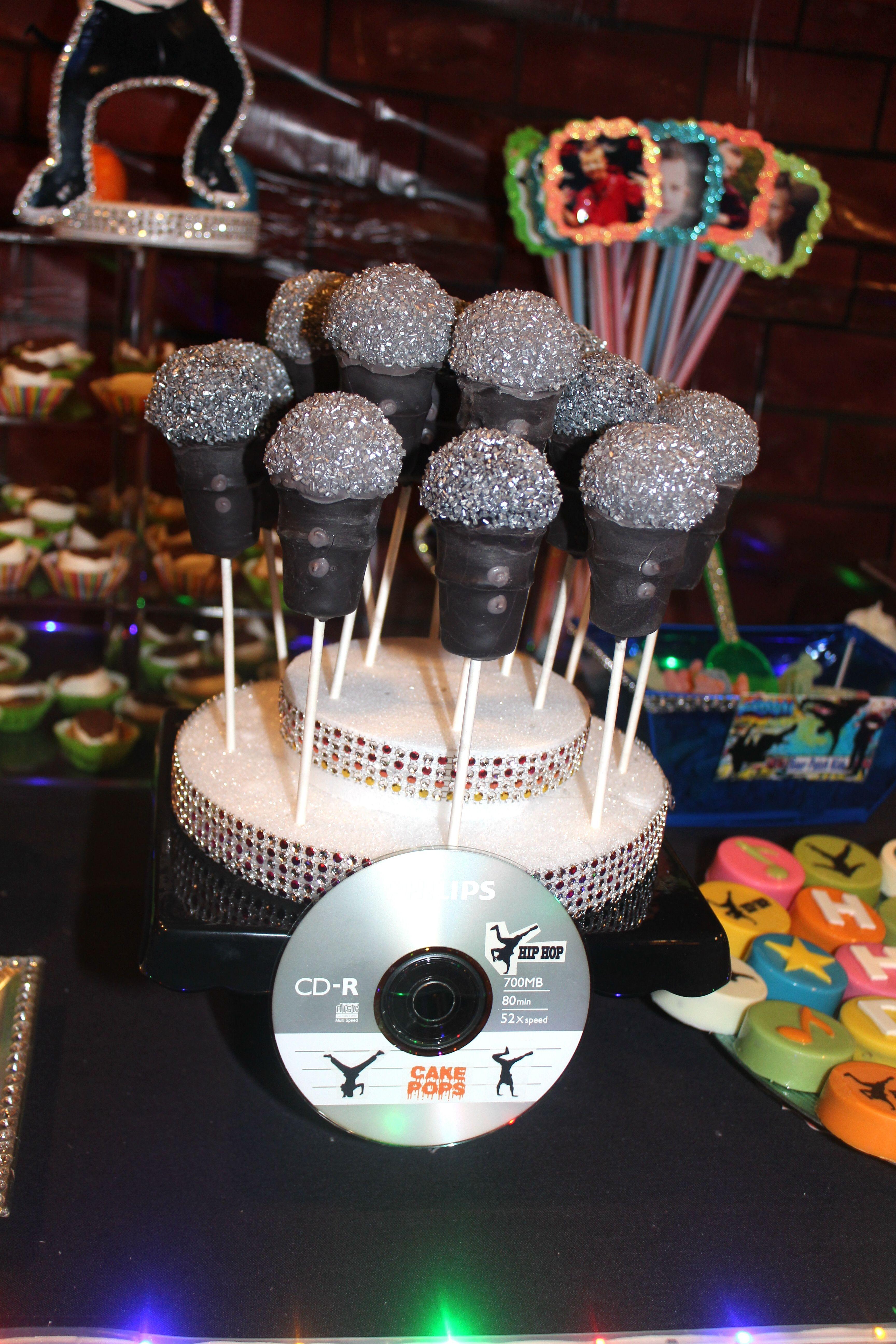 Microphone Cake Pops Hip hop party, Hip hop birthday cake