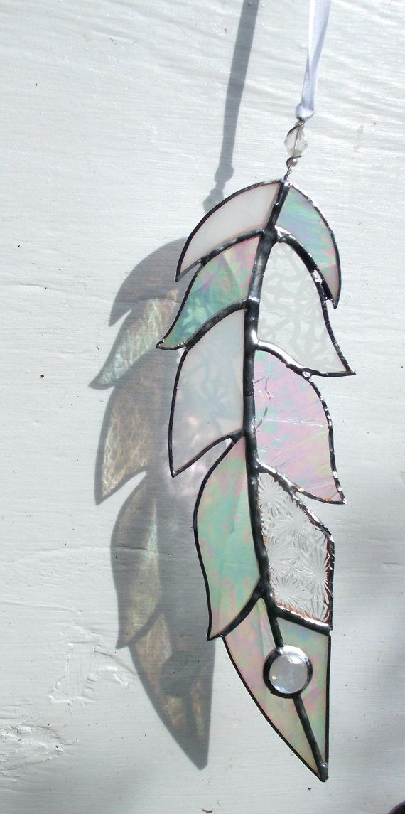 stained glass feather sun catcher window art mixed white etched silver patina finish wedding. Black Bedroom Furniture Sets. Home Design Ideas
