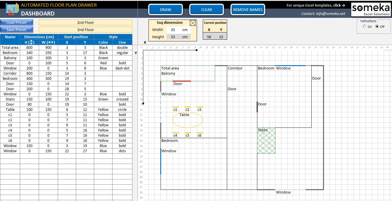 Excel Floor Plan Template