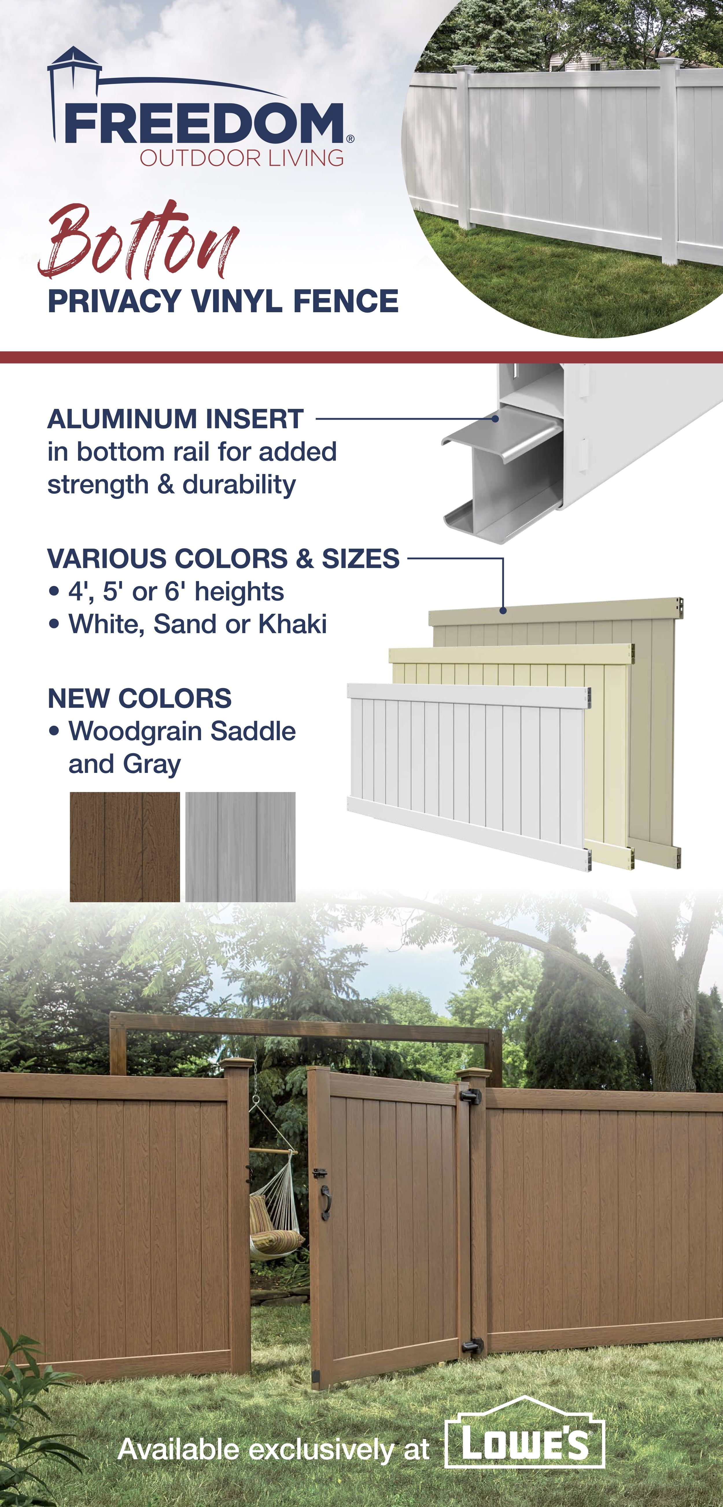 Bolton 6x8 Vinyl Privacy Fence Kit Vinyl Fence Freedom Outdoor Living For Lowes Vinyl Privacy Fence Vinyl Fence Vinyl Fence Colors