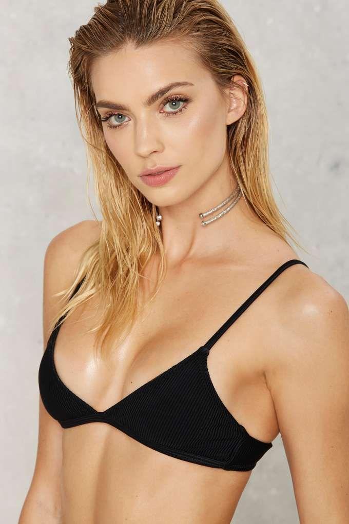 575d3e08d6 Nasty Gal Alina Ribbed Bikini Top - Black - Back In Stock