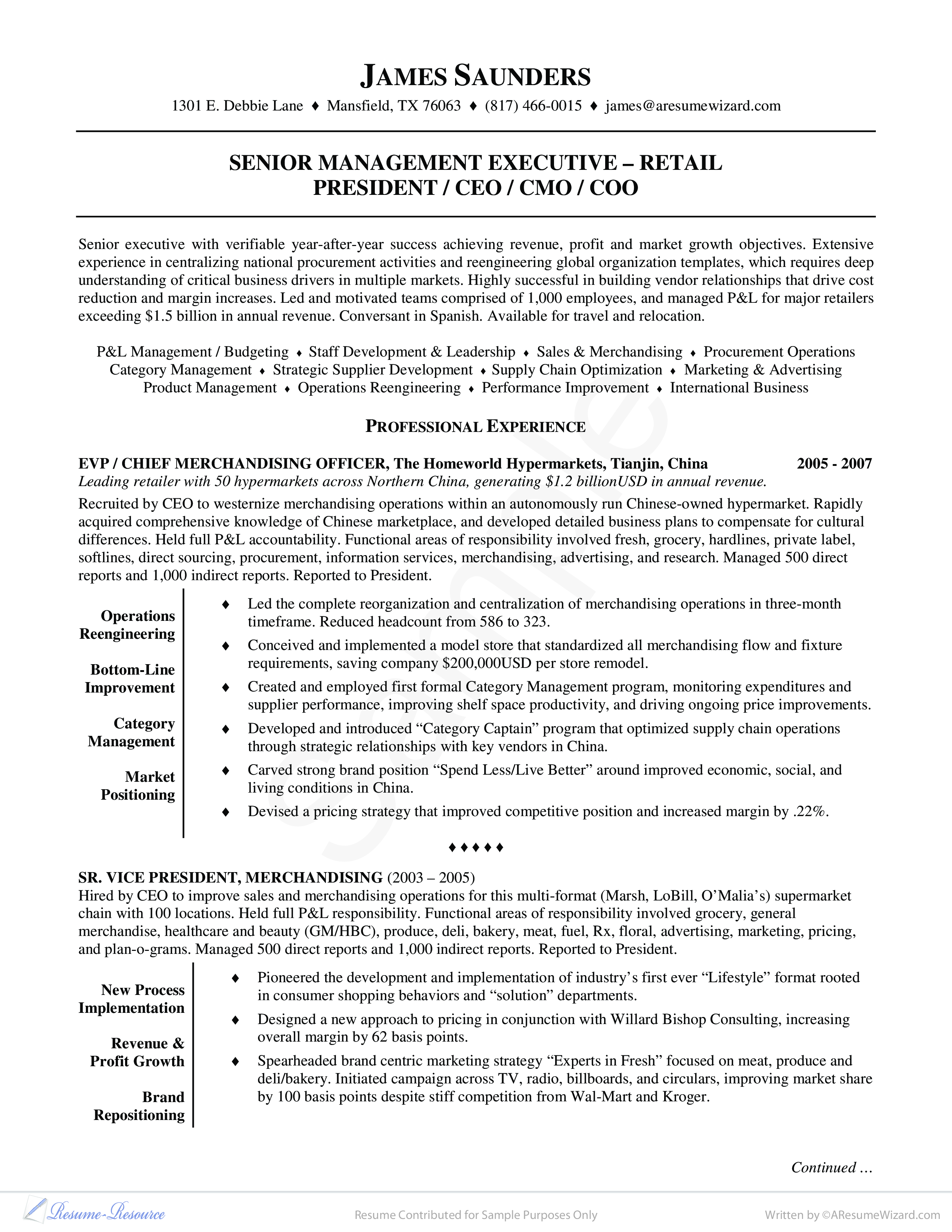 retail executive resume example