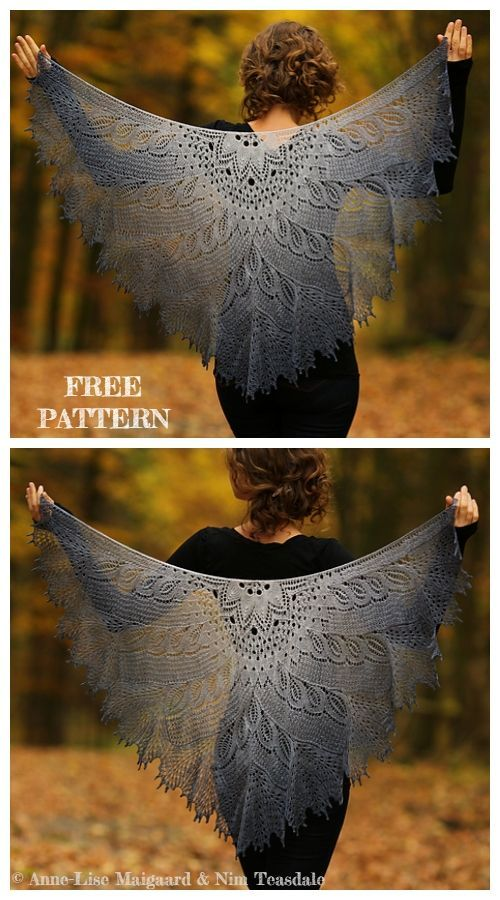 Knit Wild Swan Lace Shawl Free Knitting Pattern #free #Knit #knitting #Lace #pattern #shawl #Swan #Wild #tricotgratuit