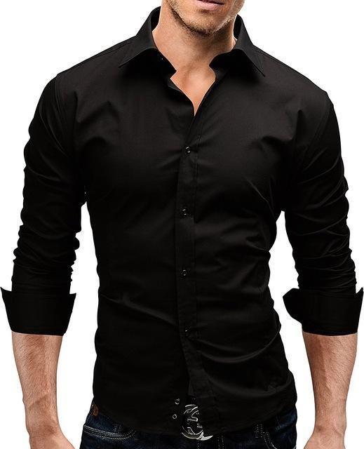 7ae54f0e53f Brand 2018 Fashion Male Shirt Long-Sleeves Tops Slim Casual Solid Color  Mensmodkily