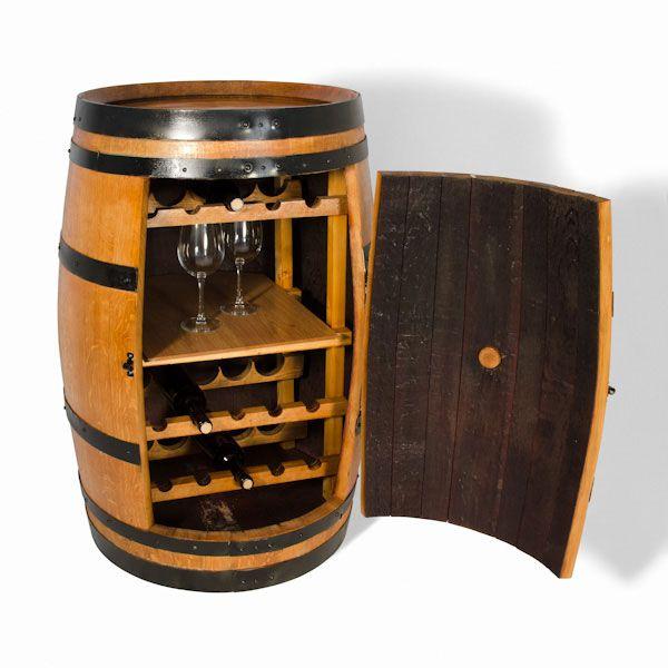 Barrica de madera con botellero y balda para copas en su for Barril mueble bar