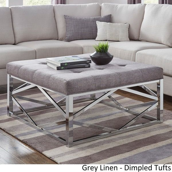 Solene Geometric Base Square Ottoman Coffee Table Chrome By Inspire Q