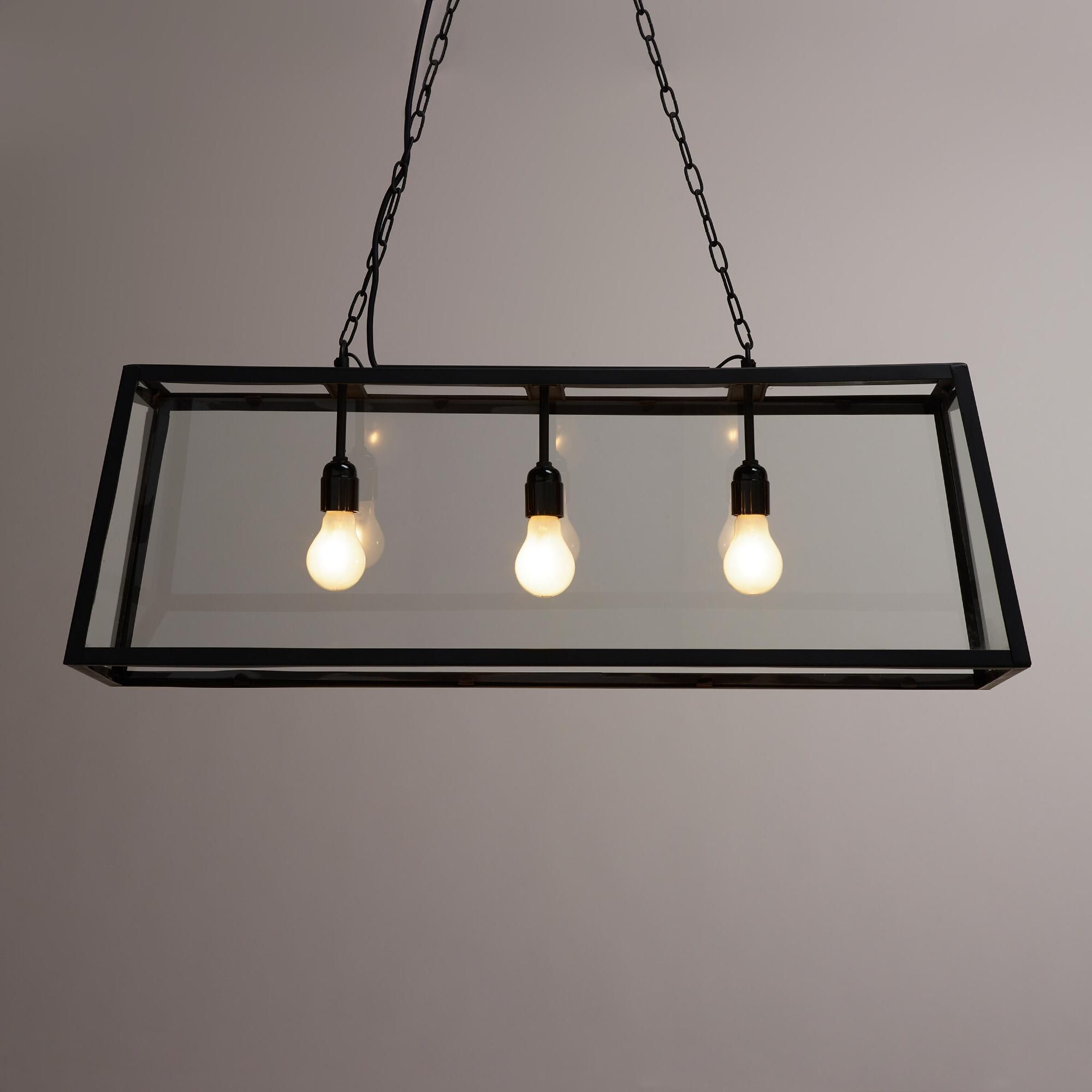 Crafted of clear glass panes set in a black iron frame our crafted of clear glass panes set in a black iron frame our exclusive pendant lamp is a dramatic three dimensional statement piece ideal for the dining mozeypictures Images