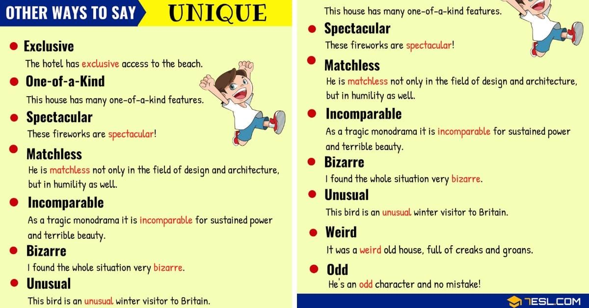 Another Word For Unique List Of Synonyms For Unique In English 7esl Other Ways To Say Vocabulary Words Learn English Vocabulary