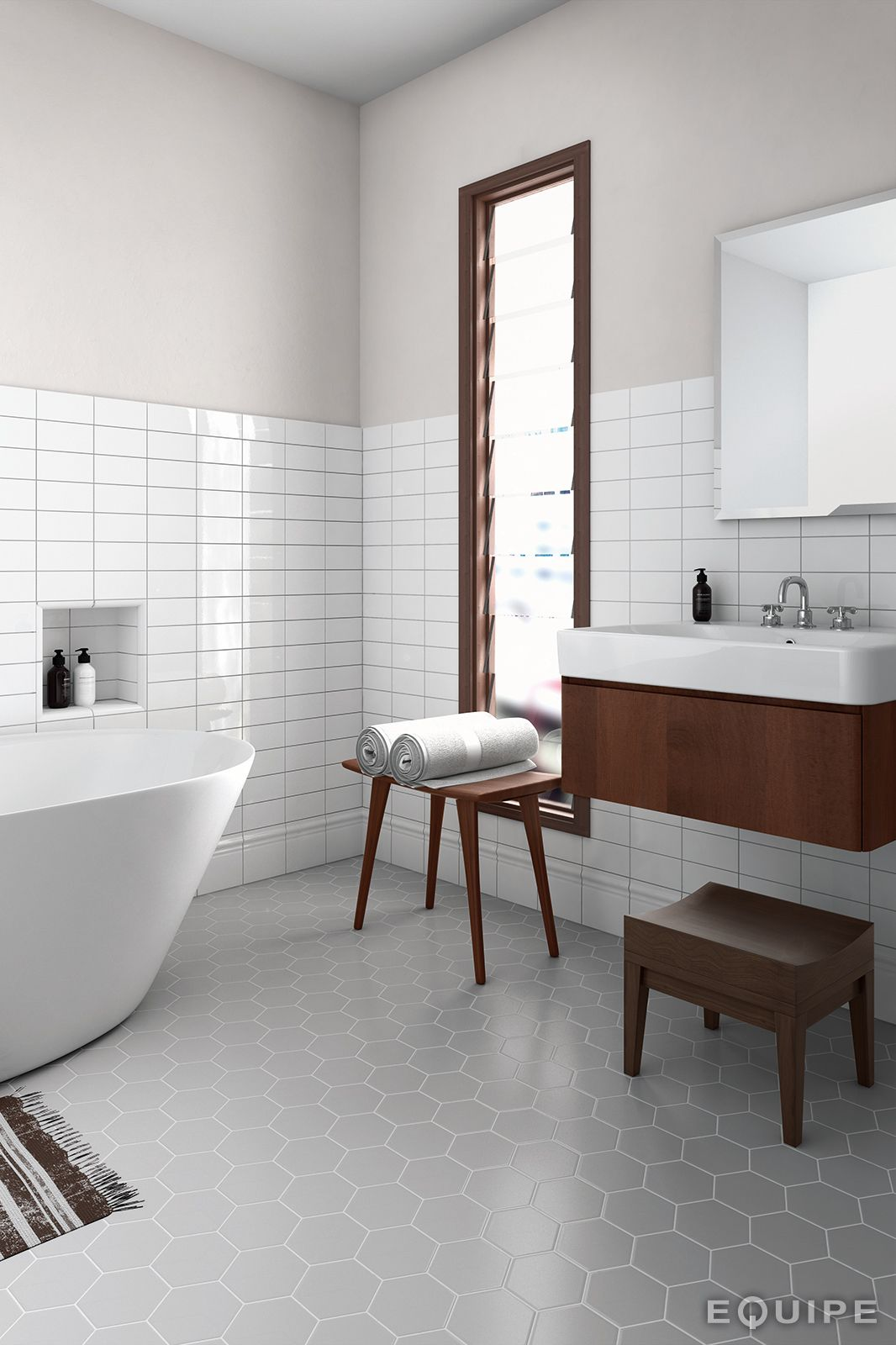 Scale Grey 11,6x10,1. floor tile with horizontal subway tile. | Home ...