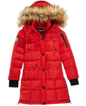 Dkny Big Girls Hooded Bubble Jacket with Faux-Fur Trim - Red 10-12 ... 0a0d2f2c6b7