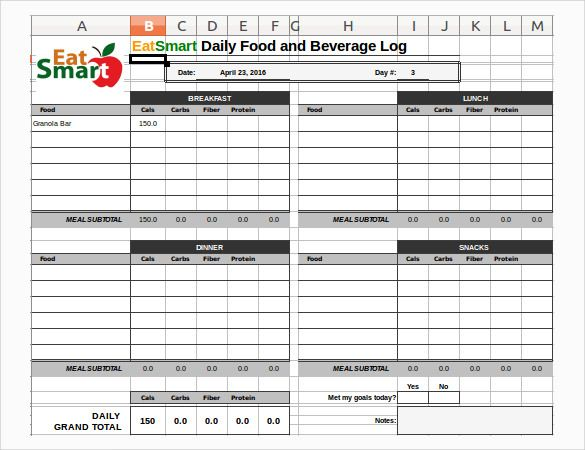 Food Log Templates 16+ Free Word, Excel  PDF Formats Sample
