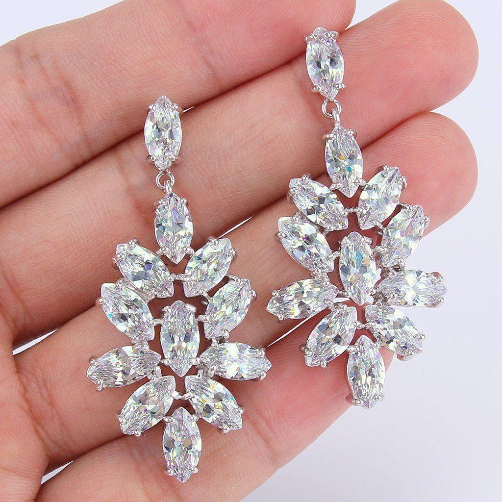 d9185c76b EleQueen Womens Silvertone CZ Flower Cluster Marquise Shape Teardrop Bridal Dangle  Earrings Clear *** Look into this wonderful item.