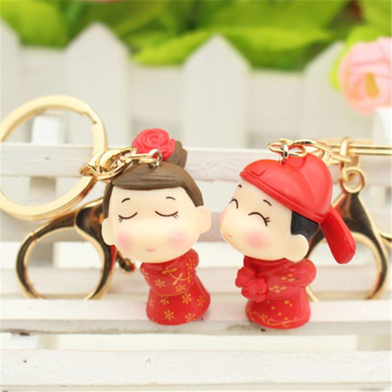 Cute cartoon anime keychain wedding commemorative keyring