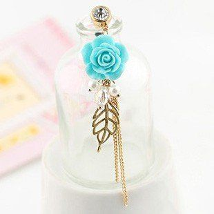 Earphone Jack Accessory Gold Plated Blue Flower Golden Leaves Tassel Chain Beads Crystal Pearls / Dust Plug / Ear Jack For For Iphone 4 4S / iPad / iPod Touch / Other 3.5mm Ear Jack CJB,http://www.amazon.com/dp/B009L6C3NG/ref=cm_sw_r_pi_dp_brjVsb1HW470DXET