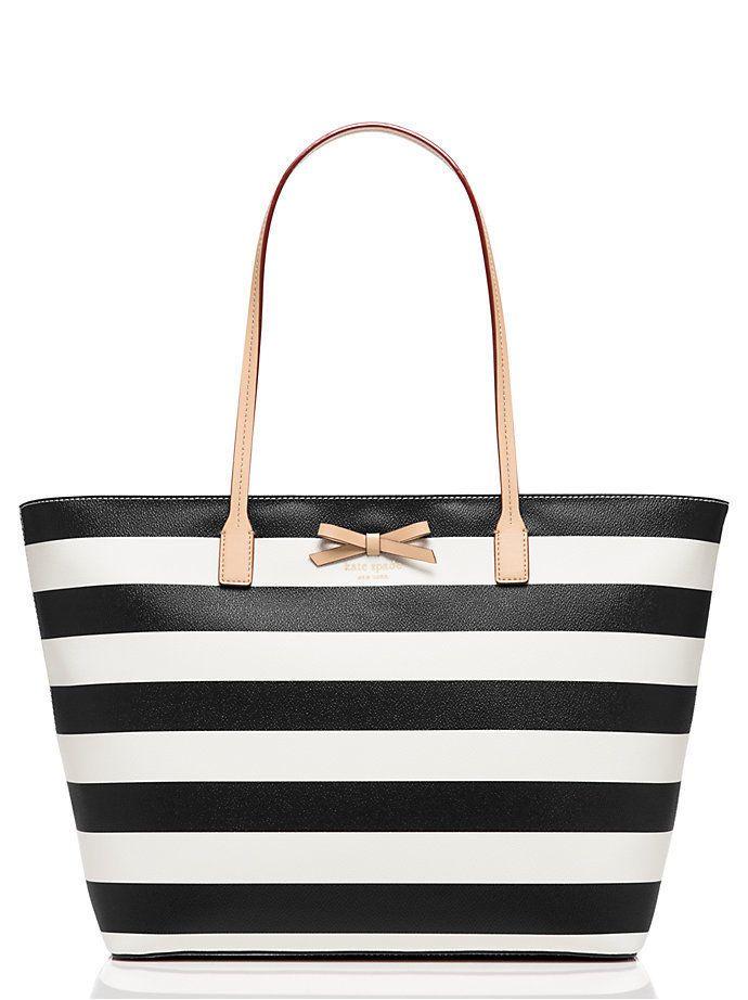 Kate Spade Sawyer Street Margareta Tote Shoulder Bag Black Cream Stripe Katespade Totespers
