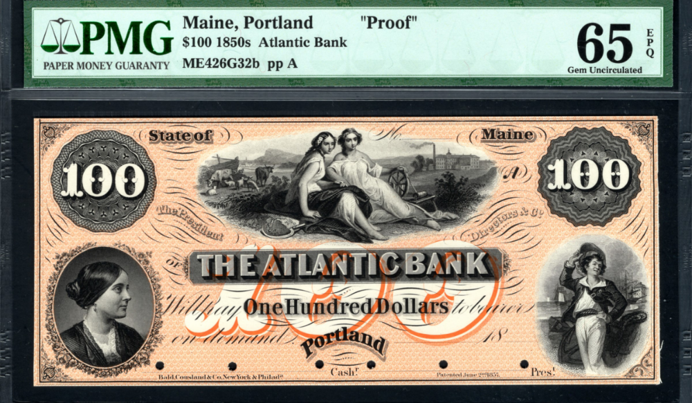 Portland 18 100 The Atlantic Bank Me1820 70 Proof Bank Notes Paper Money Coat Of Arms