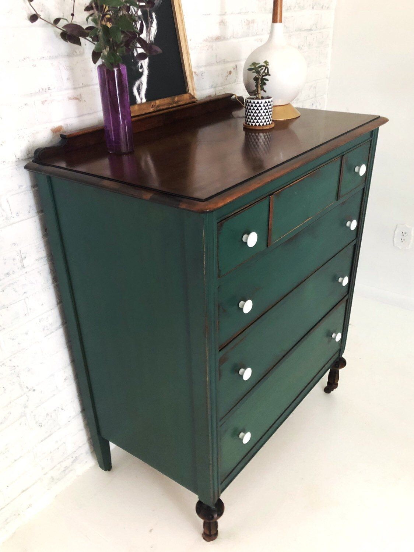 Vintage Dresser 4 Drawers Solid Wood Rustic Green Original Etsy Furniture Makeover Green Dresser Green Furniture [ 1500 x 1124 Pixel ]