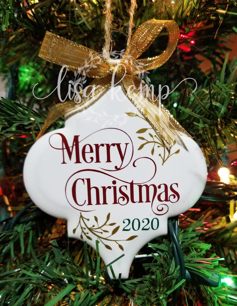 Merry Christmas Ceramic Lantern Tile Ornament Etsy Vinyl Christmas Ornaments Christmas Ornament Crafts Unique Christmas Ornaments