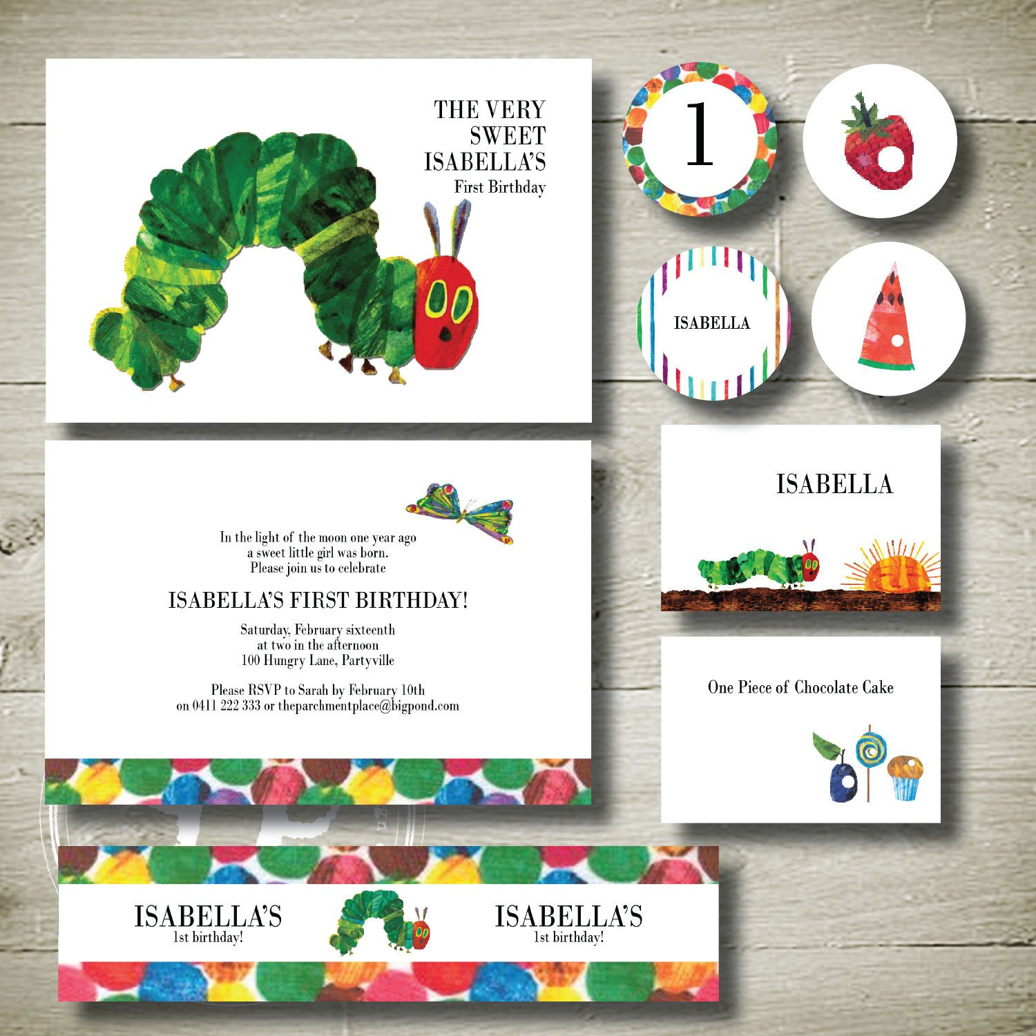 The Very Hungry Caterpillar - personalised invitation printable ...