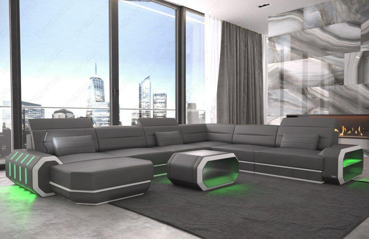 Xxl Interior Design Corner Sofa Roma Designcouch Couch Usb Led Lighting Grey Sofa Design Modern Leather Sofa Living Room Sofa