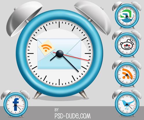Alarm Clock Social Media Icons