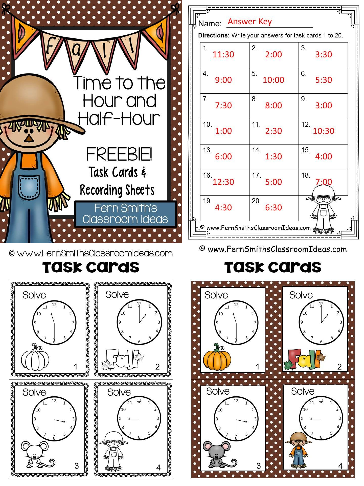 Fall Time To The Hour And Half Hour Task Cards Recording