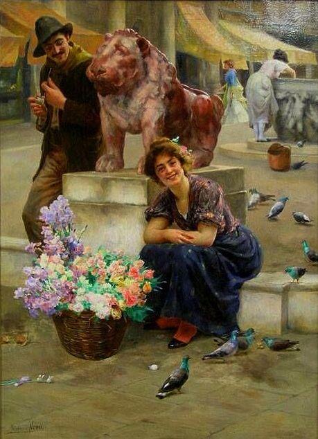 Romance Among Pigeons And Flowers~Stefano Novo (Italian, 1862-1927)