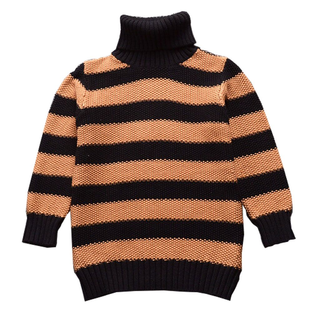 e02090113ac Big Stripes Baby Girl Sweater, Baby Girl Turtleneck Jumpers, High ...