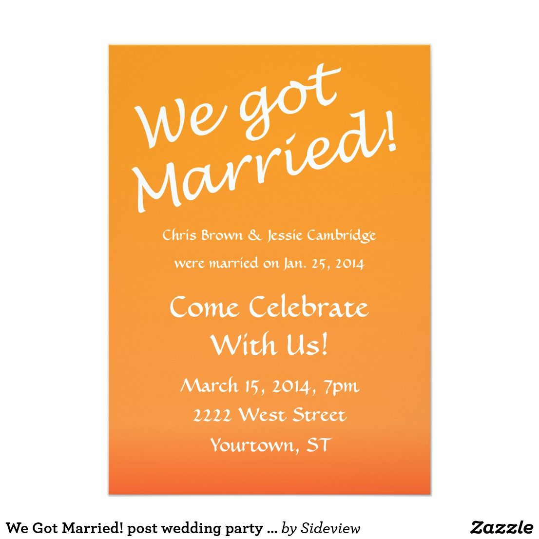 We Got Married Post Wedding Party Invitation Zazzle Com Wedding Celebration Invitation Wedding Party Invites Reception Invitation Wording