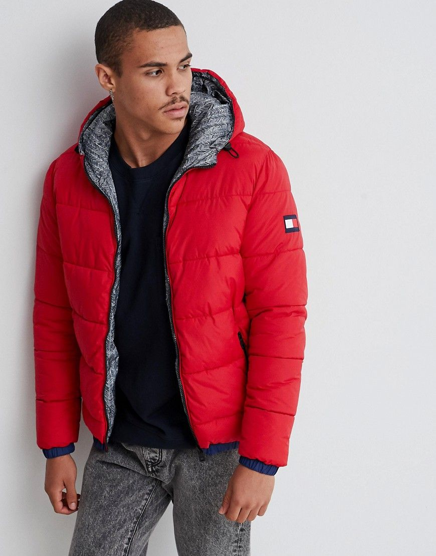 b13abf4765 TOMMY HILFIGER REVERSIBLE HOODED DOWN PUFFER JACKET IN RED/ALL OVER ...