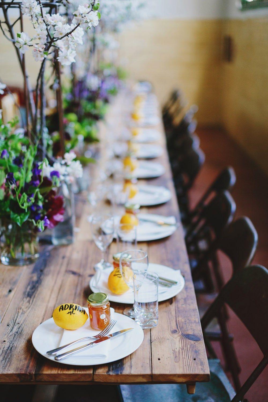 Rustic wedding tablescape + honey wedding favors | fabmood.com #wedding #rusticwedding #factorywedding