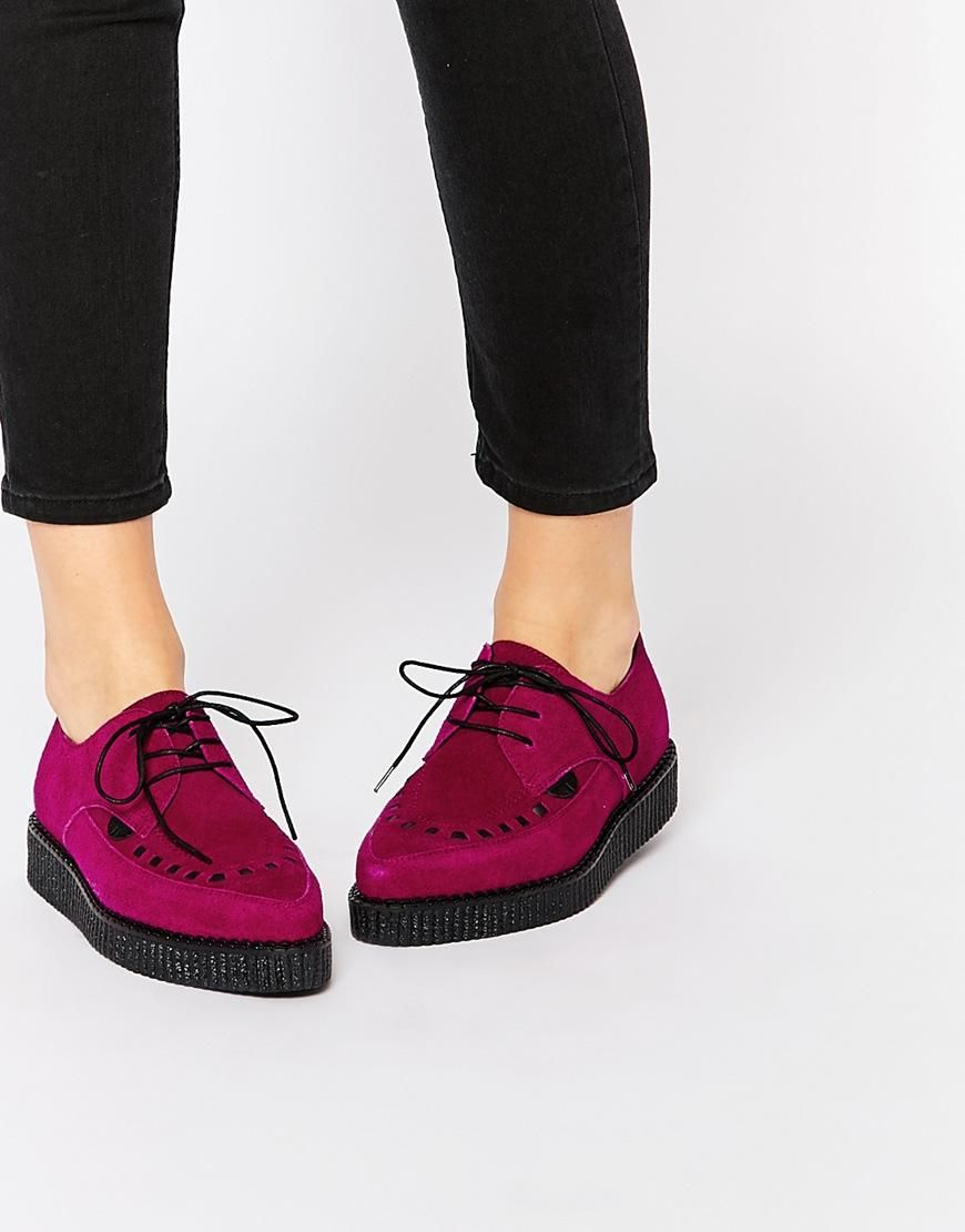 Buy Women Shoes / Underground Barfly Deep Red Suede Creeper Shoes