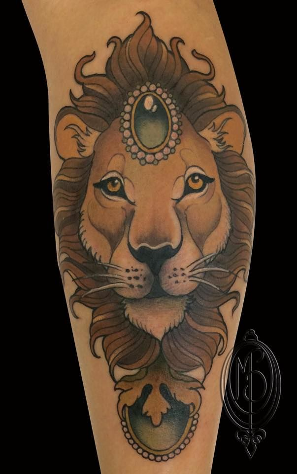 1c6fe2d84 lion, neotraditional, tattoo, by Monique Peres | tattoo ideas ...
