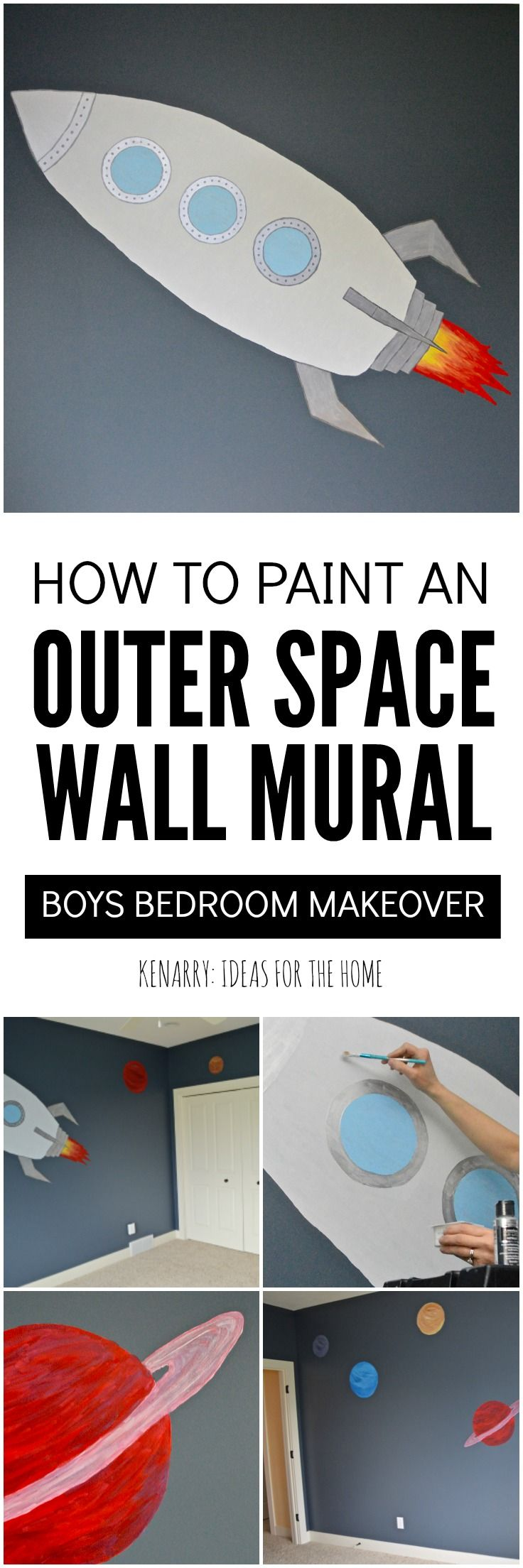 Outer Space Mural Tutorial for Boys Bedroom is part of Big bedroom For Boys - Paint an outer space mural for a bedroom using this DIY tutorial and DecoArt paint  It's easy to create a rocket and planets that are out of this world!