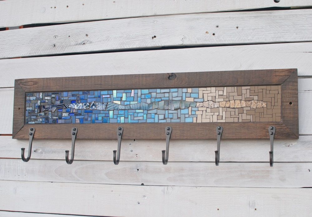 Blue tan 6 hook mosaic coat rack PH2016.jpg