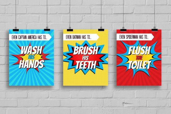 Super Hero Bathroom Prints Superhero Pop Art Instant DownloadPRINTABLE 8x10