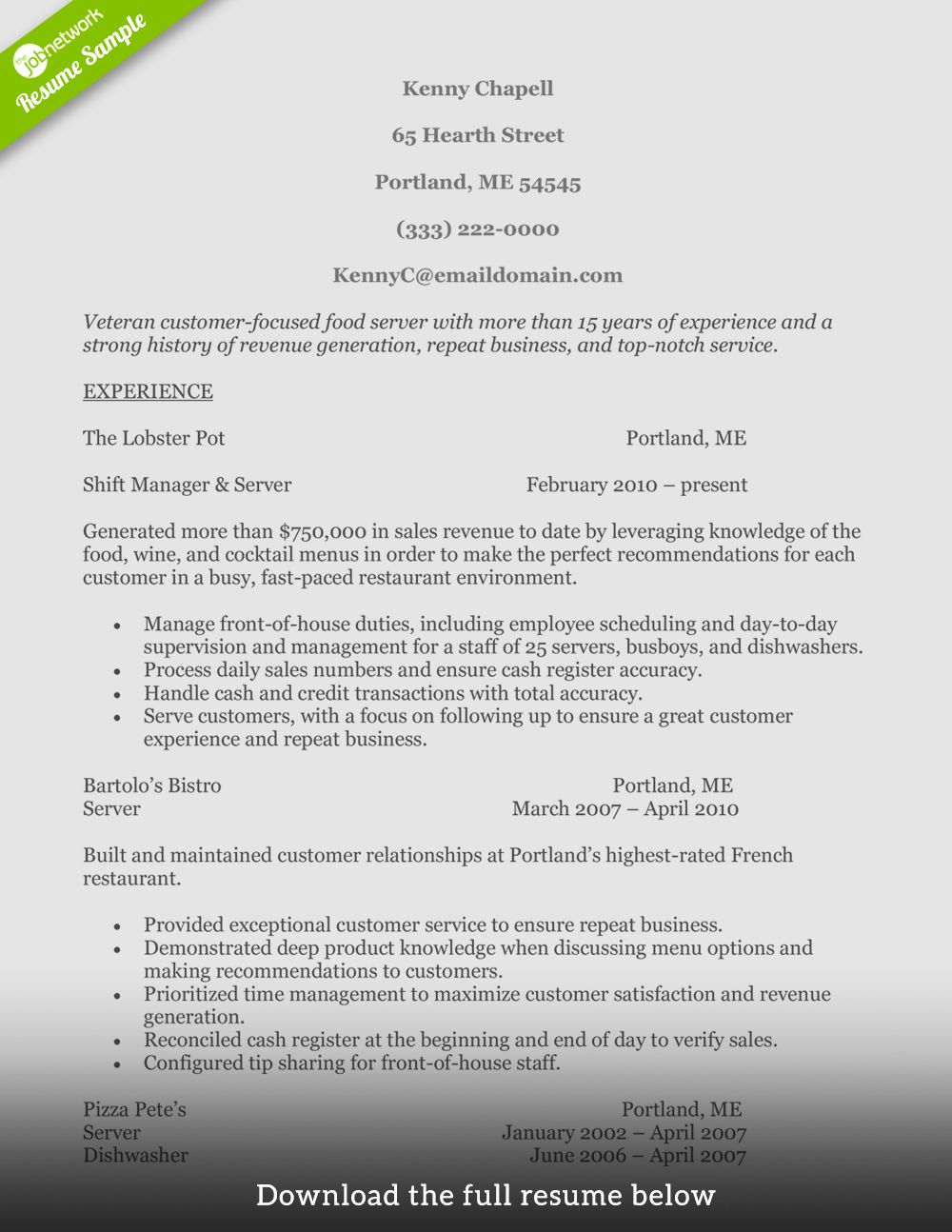 Fast food restaurant resume elegant how to write a perfect