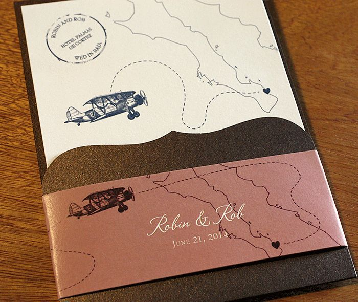 Destination Wedding Letterpress Invitation