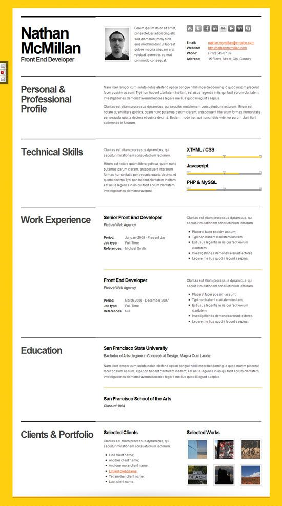beautiful template cv en pdf
