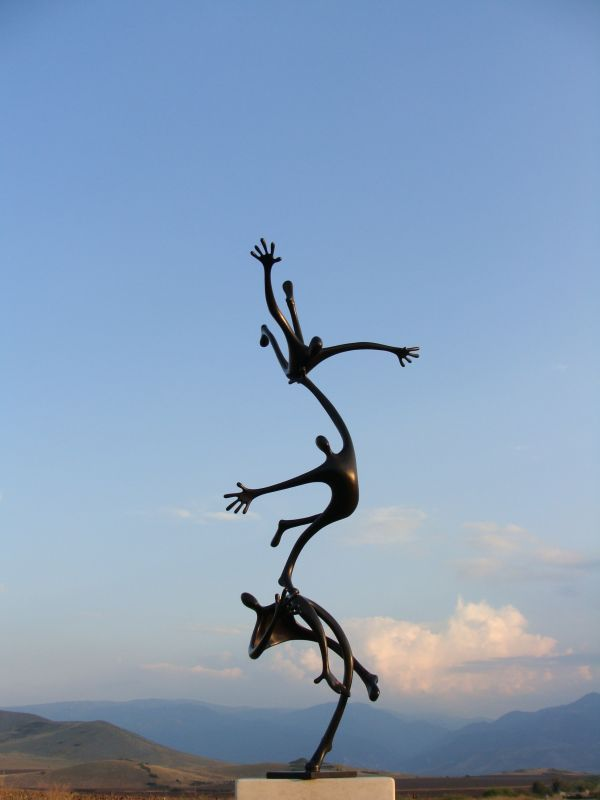 Bronze Abstract Contemporary or Modern Outdoor Outside Exterior Garden / Yard Sculptures Statues statuary sculpture by artist Plamen Dimitrov titled: 'Attempt to fly (bronze garden/Indoor Falling Figures statuette statues)'
