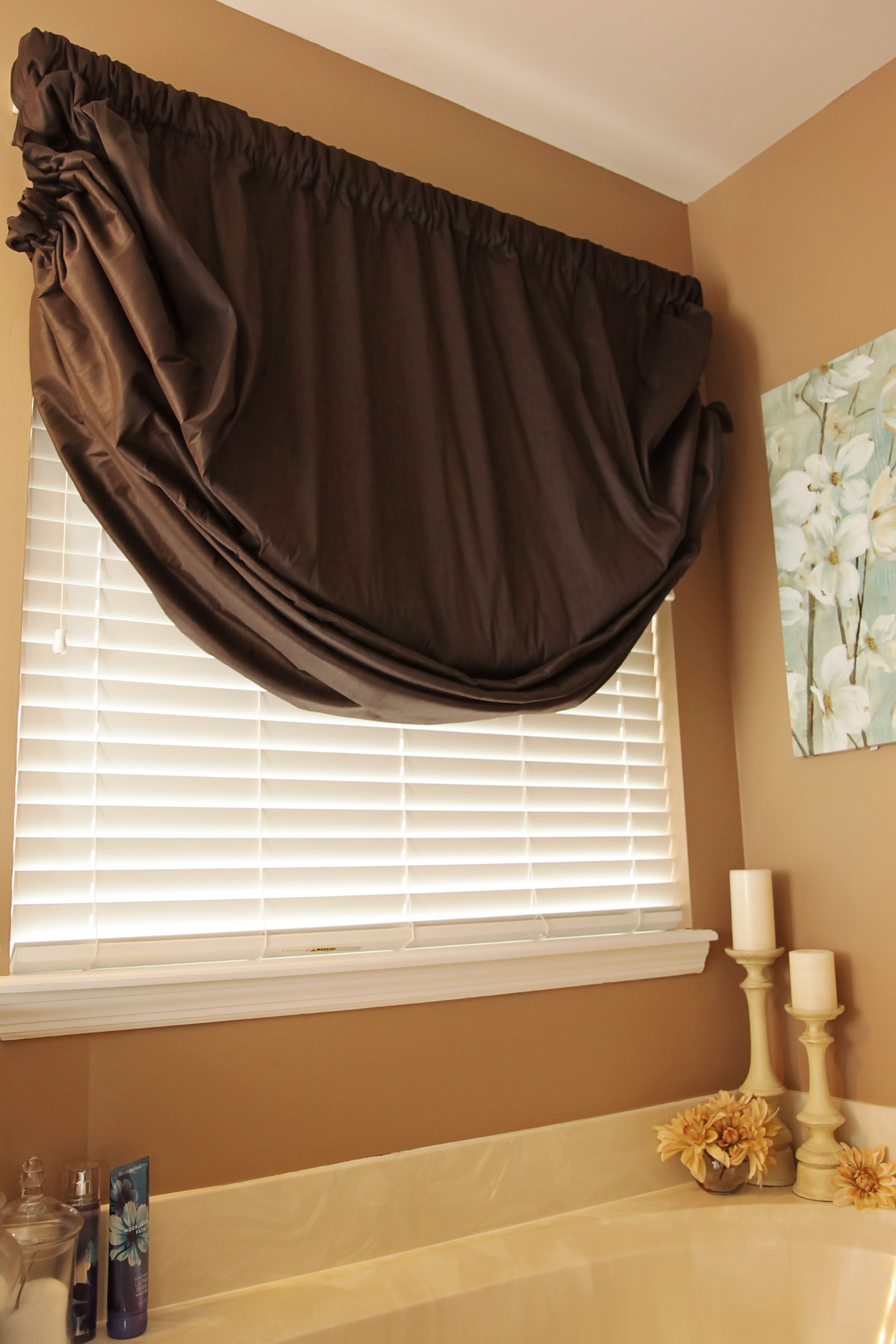 Faux Silk Austrian Shade Valance Mounted On A Continental Rod