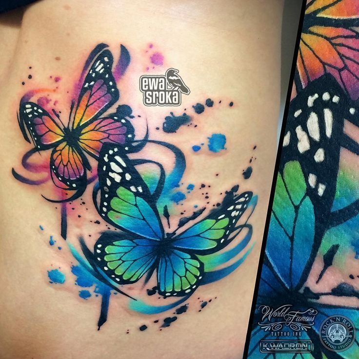 # Watercolor # Watercolor #Tattoo #Butterfly #flower tattoos | Linda Albert Blogs