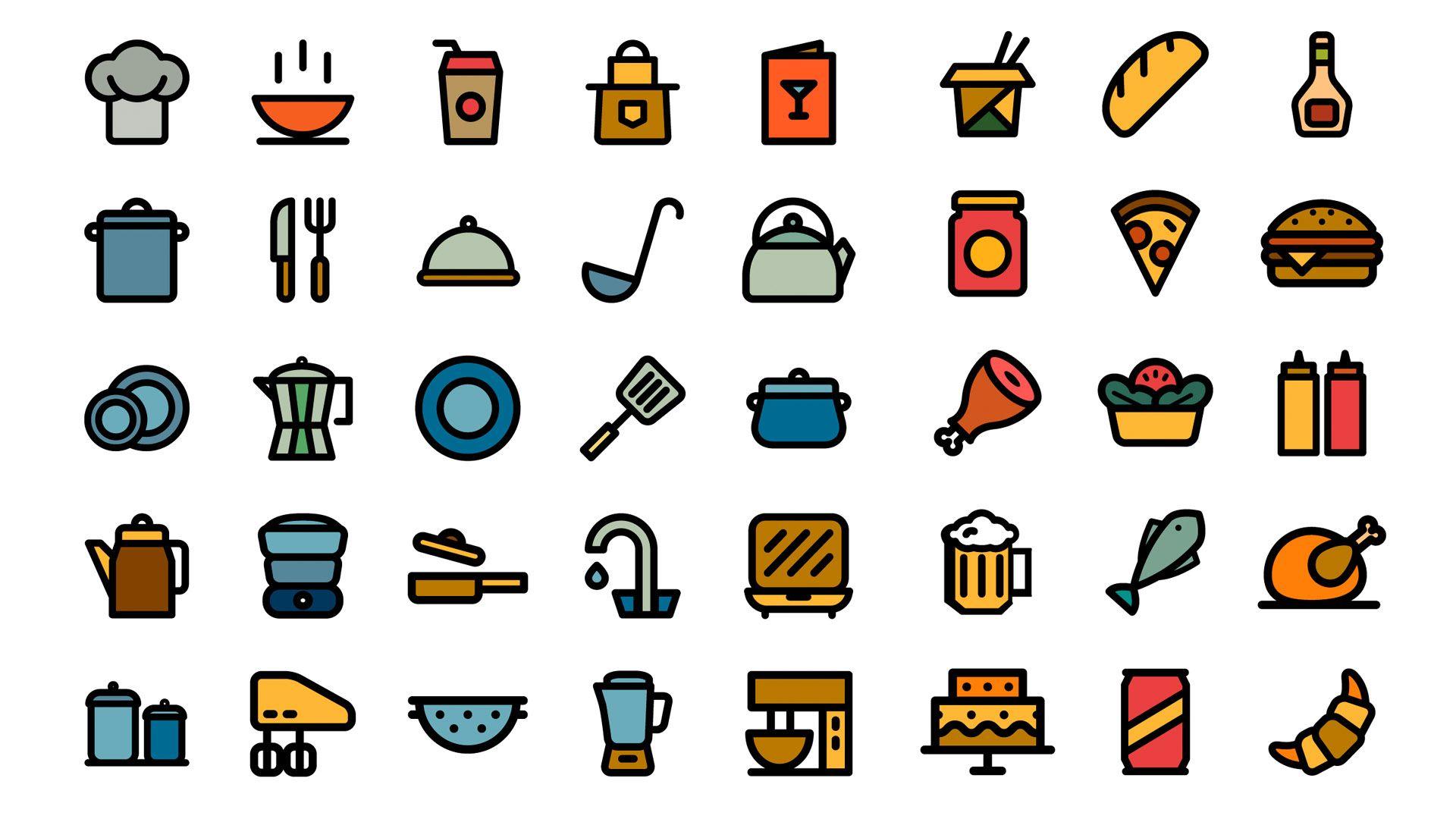 Free Kitchen Stuff Icons Free kitchen stuff, Vector