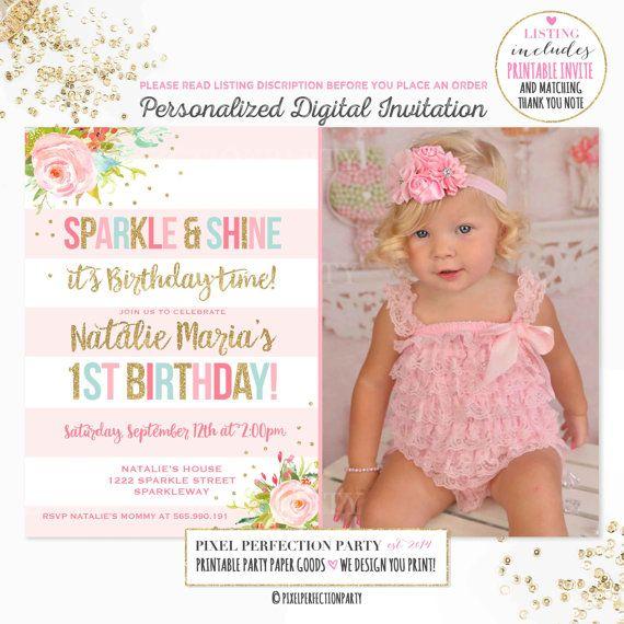 Girls 1st Birthday Invitation Pink Gold Mint Birthday Pink Gold - invitation for 1st birthday party girl