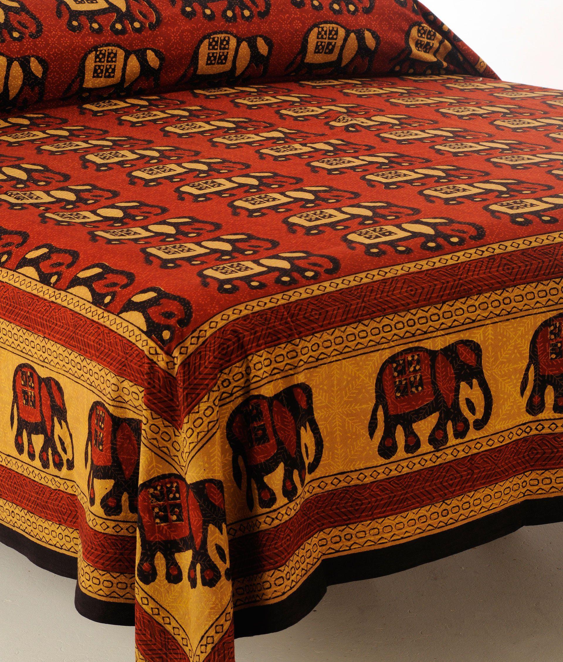 Haathi Elephant Cotton Bedspread Indian Bedspread Mymela