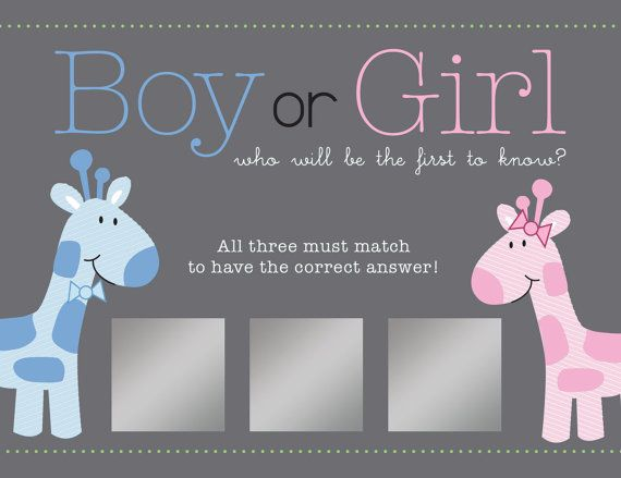 Gender Reveal ScratchOff Card Game Pack of by KristiGrayDesigns – Baby Gender Announcement Cards